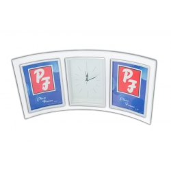 Porta Retrato de Vidro 10x15cm Duplo com Relógio
